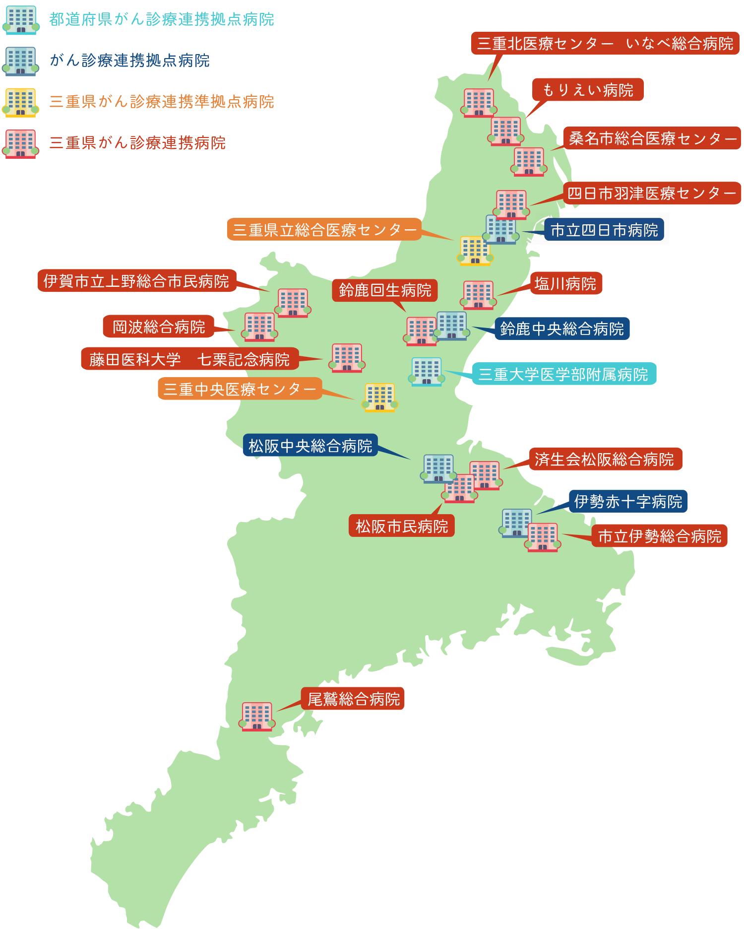 三重県のがん拠点マップ